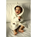 Baby Bathrobe with hood and pockets.
