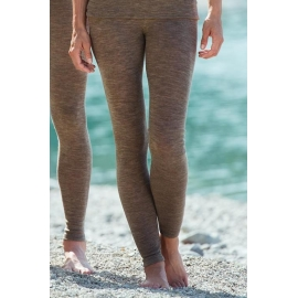 Leggings i ull och silke - walnut