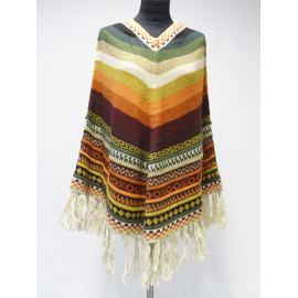 Handmade Poncho in 100% Alpaca, colorful colors No 1