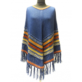 Handmade Poncho in 100% Alpaca, colorful colors No 2