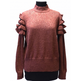 Cute sweater in 100% Alpaca with crocheted ruffles on the shoulders - No 1