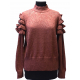 Cute sweater in 100% Alpaca with knitted lace on the shoulders - No 1