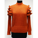 Cute sweater in 100% Alpaca with crocheted ruffles on the shoulders - No 2