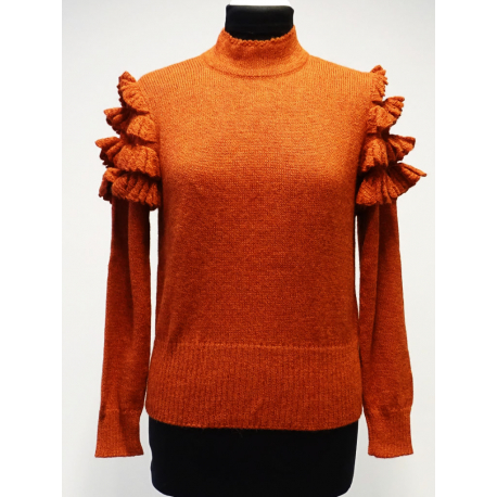 Cute sweater in 100% Alpaca with knitted lace on the shoulders - No 2